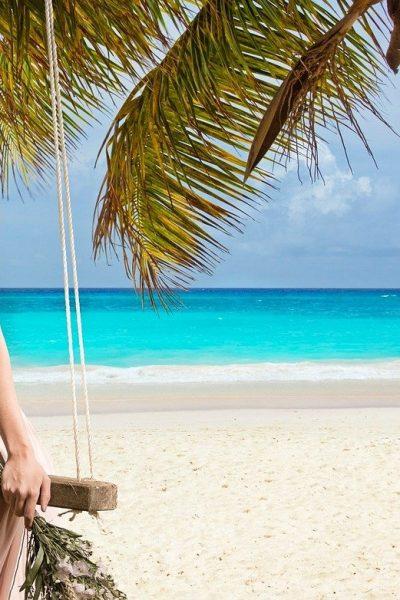 Beach Woman Sea Swing Blue Coast Landscape Ocean